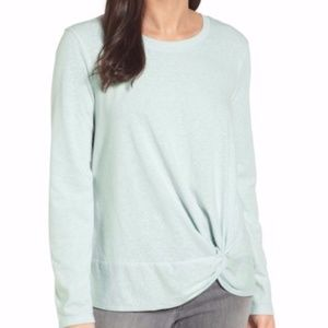 Caslon / Teal Surf Surplice Twist Front Sweatshirt